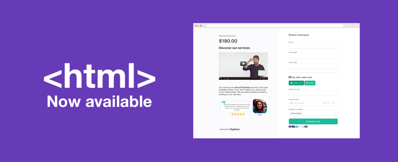 Now you can add customized HTML to your PayForm